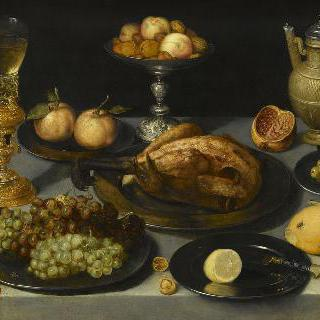 식탁위의 요리, 과일과 유리잔