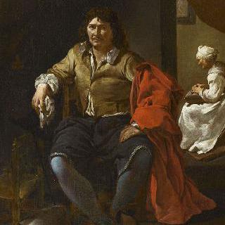 실내의 앉아있는 남자와 뒤쪽에 보이는 시녀