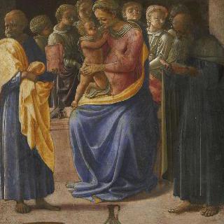 여섯 천사와 두 성인사이의 성모와 아기 예수