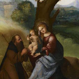 풍경 속 아기 예수를 안고 있는 성모와 성 앙투안 사제