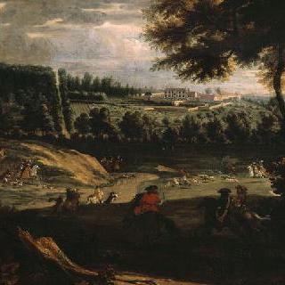 생 제르망의 고성이 보이는 곳의 마를리에서 사슴 사냥하는 루이 14세