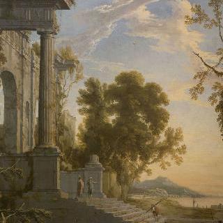 궁전에서 행진하는 인물들의 풍경
