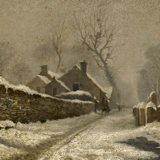 눈 내린 마을의 거리