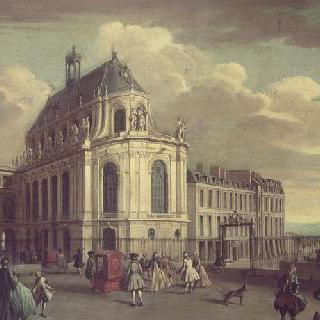 18세기 초. 베르사유궁의 예배당 안뜰에서 바라본 전경