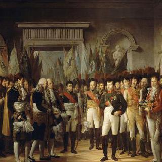 1806년 11월 19일 베를린 왕궁에서 프랑스 상원 의원들을 맞이하는 나폴레옹 1세