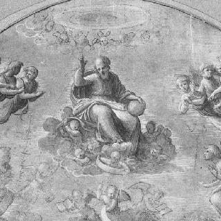 천사들에 둘러싸인 구름 속에 앉아있는 축복하는 하느님 아버지