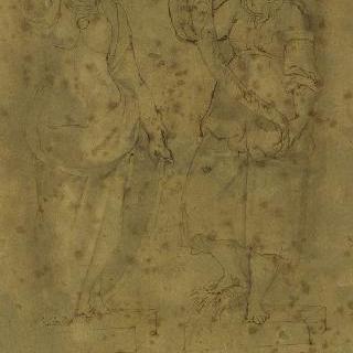 두 개의 여인상 기둥 : 방패를 든 여인상 기둥과 풍요의 뿔을 든 여인상 기둥
