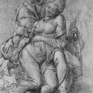 성녀 안 무릎 위의 아기 예수와 성모