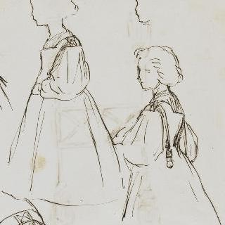 토마 쿠튀르의 딸들. 그녀들은 왼쪽을 향해 보고 있는 프로필 모습이다