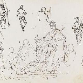 왕좌에 앉아 있는 나폴레옹, 기수에 대한 여섯 습작, 드농관을 위한 습작