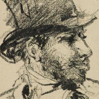 오른쪽을 향하고 있는 프로필의 높은 모자를 쓴 남자 초상