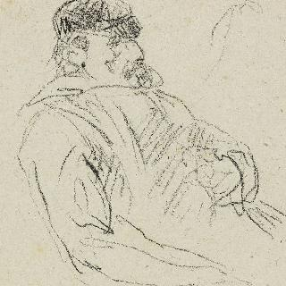 앉아 있는 투구를 쓴 남자, 오른쪽을 향한 프로필