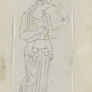 크로키 화첩 : 왕관을 쓰고 고대풍의 긴옷을 둘러입고 서 있는 여자