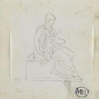 크로키 화첩 : 고대풍으로 몸을 감싼 앉아있는 여인의 옆 얼굴