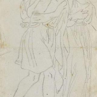크로키 화첩 : 고대풍의 옷을 둘러 입고 걷고 있는 남자와 여자