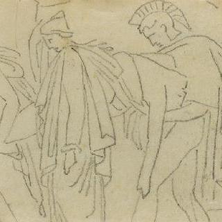 크로키 화첩 : 시신을 운반하는 세 명의 인물, 고대의 모티프가 있는 장면