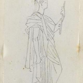 크로키 화첩 : 고대풍으로 몸을 감싼 여인의 옆 얼굴