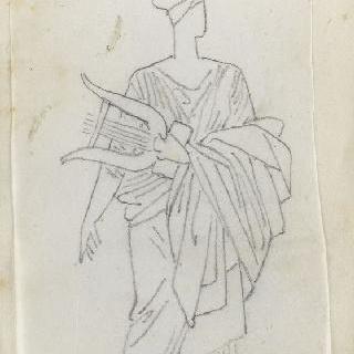 크로키 화첩 : 리라를 들고 고대풍의 긴옷을 둘러입은 여자