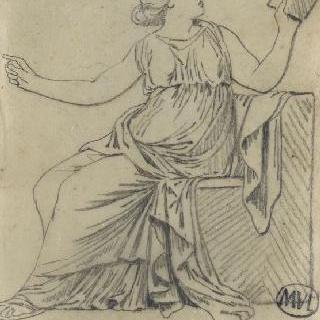 크로키 화첩 : 앉아서 책을 읽는 고대풍으로 몸을 감싼 여인