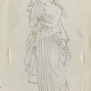 크로키 화첩 : 고대풍의 긴옷을 둘러입고 서 있는 여자
