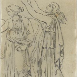 크로키 화첩 : 고대풍으로 몸을 감싼 두 명의 여인 중 횃불을 들고 있는 한 여인