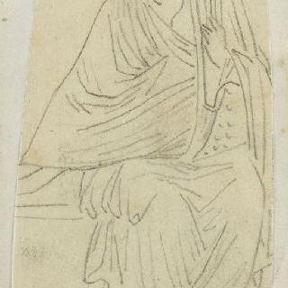 크로키 화첩 : 리라를 든 고대풍으로 몸을 감싼 앉아있는 인물