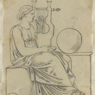 크로키 화첩 : 리라를 든 고대풍으로 몸을 감싼 여인의 앉아있는 옆 모습
