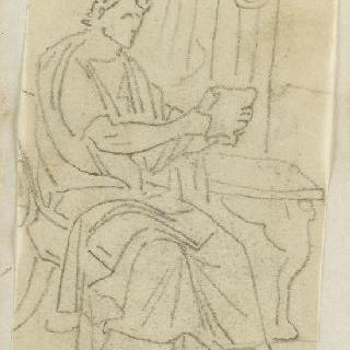 크로키 화첩 : 고대풍으로 몸을 감싼 독서하는 남자