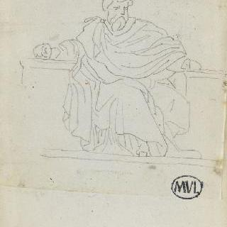 크로키 화첩 : 고대풍의 긴옷을 둘러 입고, 앉아 있는 남자