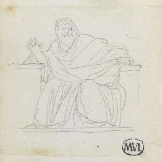 크로키 화첩 : 고대풍으로 몸을 감싼 앉아 있는 남자