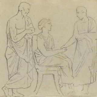 크로키 화첩 : 고대풍으로 몸을 감싼 두 명의 남자와 여자