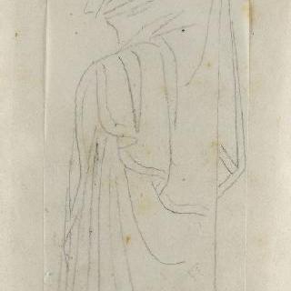 크로키 화첩 : 고대식으로 긴옷을 둘러입은 여자 프로필