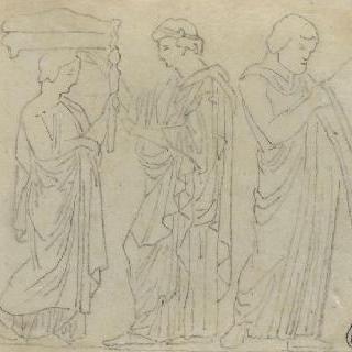 크로키 화첩 : 고대풍으로 몸을 감싼 다섯 명의 인물