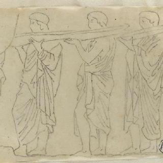 크로키 화첩 : 사물을 받치고 있는 고대풍으로 몸을 감싼 남자들