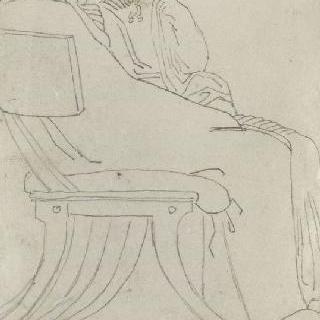 크로키 화첩 : 고대풍으로 몸을 감싼 앉아 있는 남자와 여자