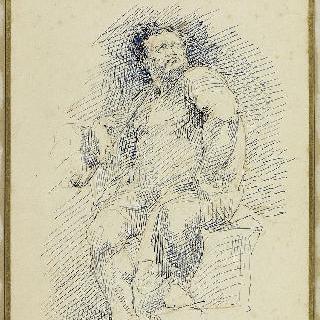 파이프 담배를 피우며 앉아 있는 남자