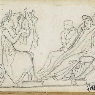 크로키 화첩 : 고대의 모티프가 있는 장면 : 리라를 연주하는 남자