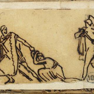 크로키 화첩 : 고대의 모티프가 있는 장면 : 여인의 머리채를 끌고 가는 남자