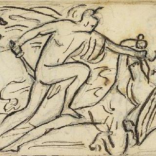크로키 화첩 : 싸우는 두 남자 습작, 고대의 모티프가 있는 장면