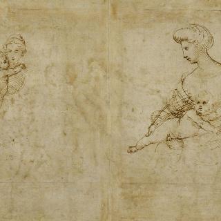 아기 예수를 안은 성모 반신상 습작 2 점, 정면과 측면상