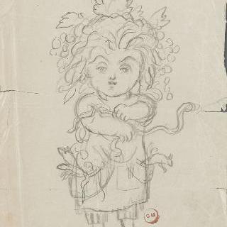 알렉산드린 뒤뢰의 풍자화 (뒷면)와 그리스어 낙서 (뒷면)