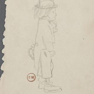 풍자화 : 실크 모자를 쓴 서 있는 청년