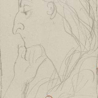 풍자화 : 턱 아래 손을 올린 노파의 옆모습 (앞면)과 얼굴 습작 2점 (뒷면)