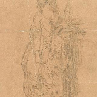 루이 16세 시대의 의상을 입은 여인