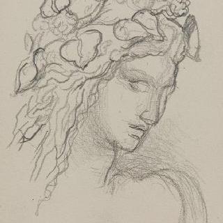 나뭇잎과 꽃으로 머리를 땋은 4분의 3상의 두상