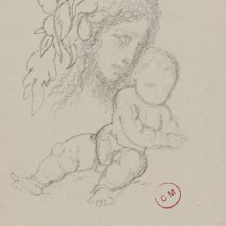 잎장식의 화관을 쓴 여인의 두상 : 앉아있는 신생아