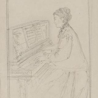 앉아서 피아노치는 알렉산드린 뒤뢰의 초상
