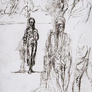 습작 종이 : 기병, 남자의 두상, 사형 집행인, 헤롯, 다리
