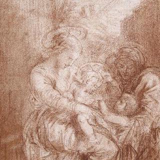 성녀 안, 예수와 세례 요한 습작