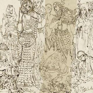 알렉산더의 승리의 인도인 인물 군상 습작